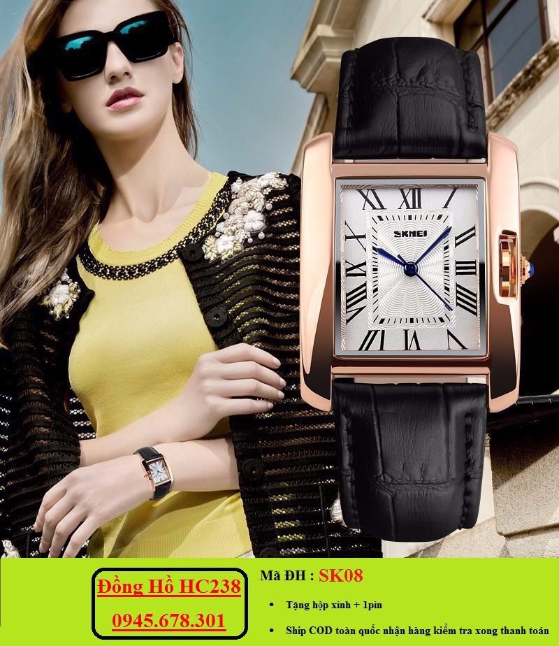 Đồng hồ nữ SKMEI mặt chữ nhật sang trọng 2
