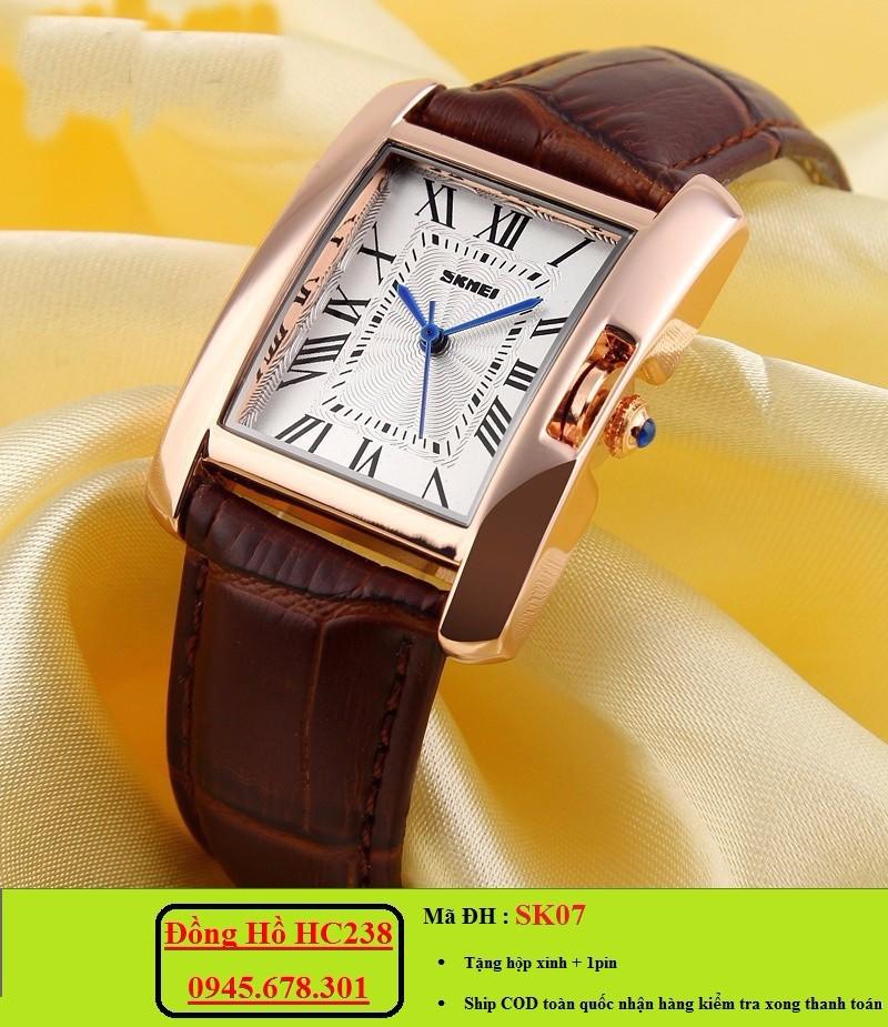 Đồng hồ nữ SKMEI mặt chữ nhật sang trọng 1