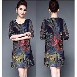 Đầm suông họa tiết nổi bật DS29 – size L~4XL – hàng nhập