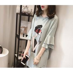 Đầm suông in họa tiết phong cách Hàn cho người mập  - DS011460092