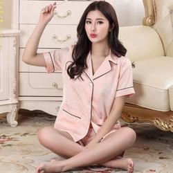 Bộ ngủ nữ mặc nhà tay ngắn quần ngắn chất lụa 2017 - NG625B