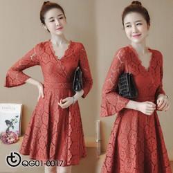 Đầm ren hoa hồng cao cấp - hàng nhập Quảng Châu