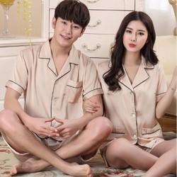 Bộ ngủ đôi mặc nhà tay ngắn quần ngắn chất lụa 2017 - NG628C