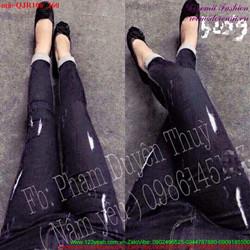 Quần jean lưng cao đen rách bụi bặm sành điệu hQJR106