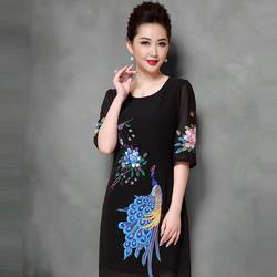 Đầm suông họa tiết con công DS8399