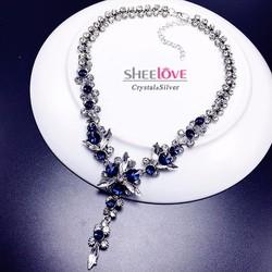 Dây chuyền hoa lá đính đá thời trang lấp lánh sanng trọng HKN-XL0058