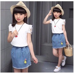 Set váy áo năng động ngày hè cho bé size nhí NX973