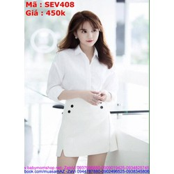 Sét áo kiểu sơ mi và chân váy xòe đính nút thời trang SEV408
