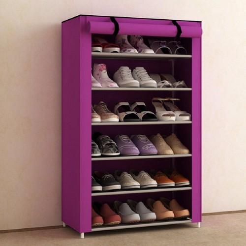 Tủ vải để giày trơn 6 tầng