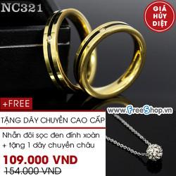 Nhẫn đôi cao cấp sọc đen viền vàng - BH vĩnh viễn ko đen
