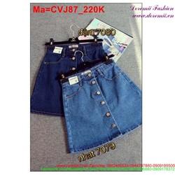 Chân váy jean hai màu xanh nhạt và xanh đậm đính nút  CVJ87