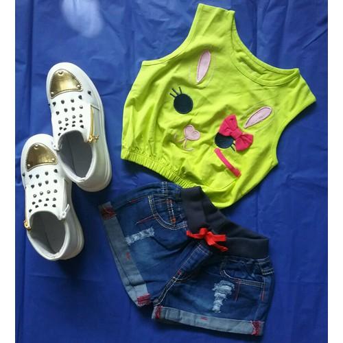Set bé gái áo croptop thỏ quần jean cực yêu
