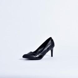 Giày cao gót bít mũi họa tiết 0717- đen