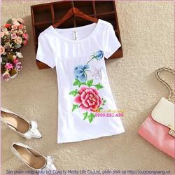 Áo thun nữ thêu hoa cổ tròn ngắn tay bằng cotton GLA102
