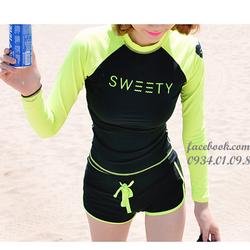 Đồ bơi short dài tay đen xanh neon