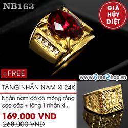 Nhẫn nam đá đỏ móng rồng cao cấp - BH vĩnh viễn ko đen