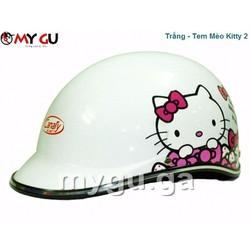 Mũ bảo hiểm cao cấp Canary PT71 Màu trắng - Tem Kitty 2