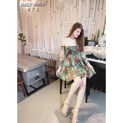 Đầm hoa nhúng bẹt vai