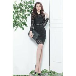 Đầm ren đen ôm body dài tay đơn giản, trẻ trung