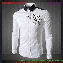 Áo sơ mi nam phối cổ áo đen hình ngôi sao sành điệu SMHQ235