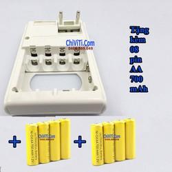 Sạc pin đa năng 3 trong 1 - sạc pin AA, AAA, 9V tặng kèm 08 pin AA
