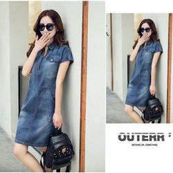 Đầm jean suông phối túi thời trang