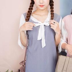 Đầm suông sọc cột nơ