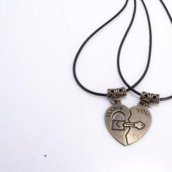 Dây chuyền đôi trái tim ổ khóa -chìa khóa I LOVE YOU -kèm hộp quà
