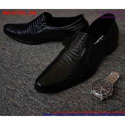 Giày tây nam công sở vân nỗi mũi nhọn sang trọng GTN5