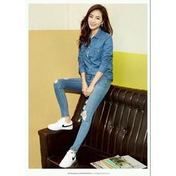 Áo sơmi jean nữ tay dài