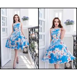 Đầm xòe 2 dây hoa xanh cao cấp