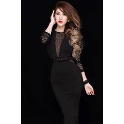 Đầm đen cao cấp sang trọng thiết kế phối lưới ôm body sexy
