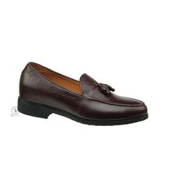 Giày lười nam da bò nâu tăng chiều cao dập nổi vân gỗ GL36