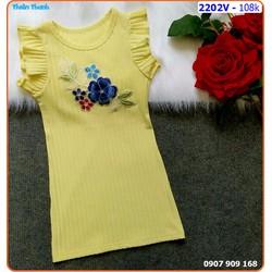 Đầm thun gân body thêu hoa cho bé  xinh xắn ngày hè