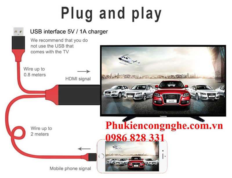 Cáp Lightning to HDMI cho iPhone 5, 5s, 6, 6plus, 7, iPad kết nối Tivi 5