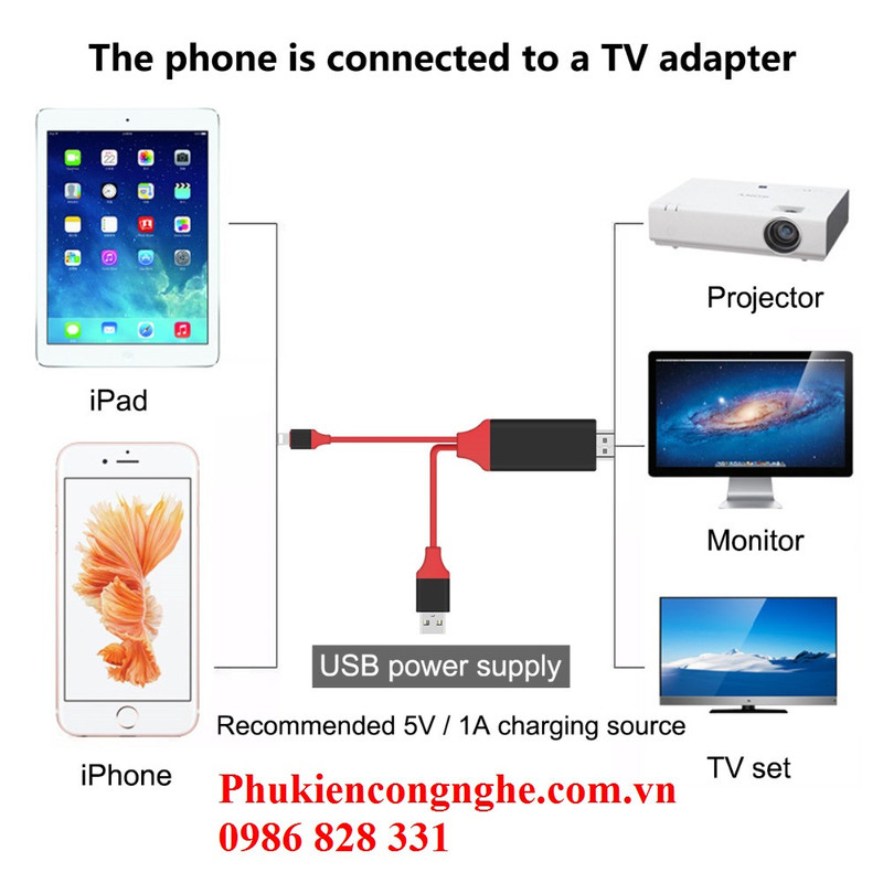Cáp Lightning to HDMI cho iPhone 5, 5s, 6, 6plus, 7, iPad kết nối Tivi 4