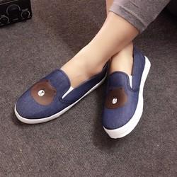Giày slip on gấu xanh jean