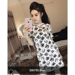 Đầm suông họa tiết mèo