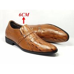 Giày tăng chiều cao nam da thật TT05 CS nâu, cao 6cm