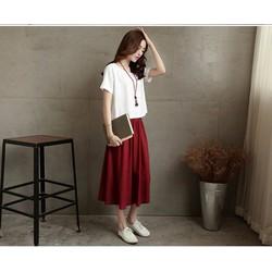 Set áo sơ mi + váy nâu đỏ thanh lịch