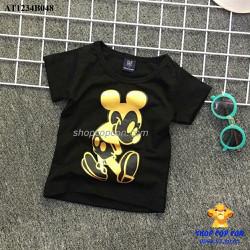 Áo thun hình mickey màu đen size 1-8