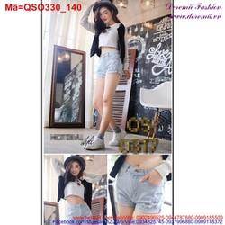 Quần short jean nữ xanh nhạt rách cá tính QSO330
