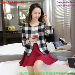 Áo khoác len nữ sọc ca rô trẻ trung AL119