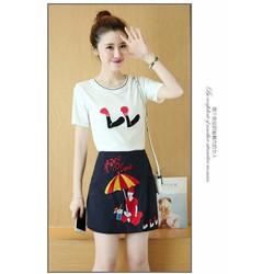 Hàng nhập-Set áo thun và chân váy thêu họa tiết cây dù size M,L,XL