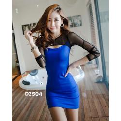 Đầm ôm body phối màu tay lưới gợi cảm-D2504