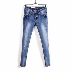 Quần jeans nữ dáng ôm, wash bạc mài rách  -Q11035484
