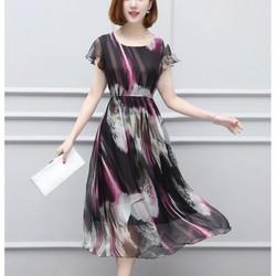 Đầm xòe voan lụa họa tiết thanh lịch DX5005 - Hàng nhập cao cấp