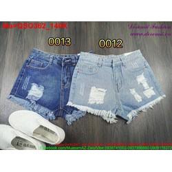 Quần short jean nữ rách hai màu xanh nhạt và đậm QSO362