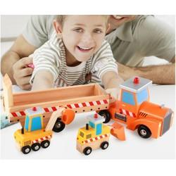 Bộ xe kéo chở máy xúc và xe đào