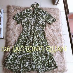 Đầm chiffon hoa xanh kèm belt